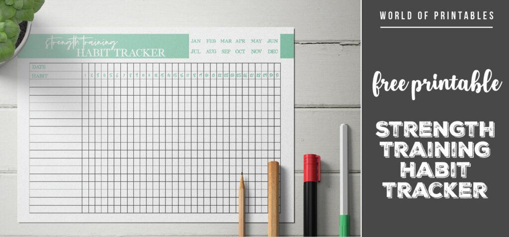free printable Strength Training Habit Tracker