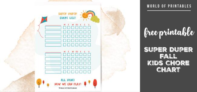 free printable Super Duper Fall Kids Chore Chart