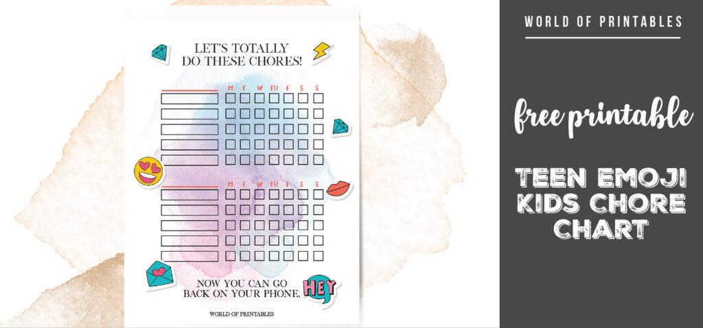 free printable Teen Emoji Kids Chore Chart