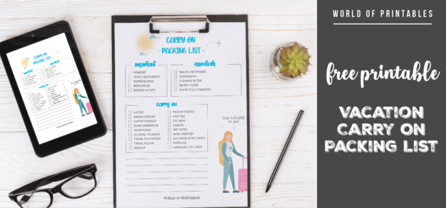 free printable Vacation Carry On Packing List