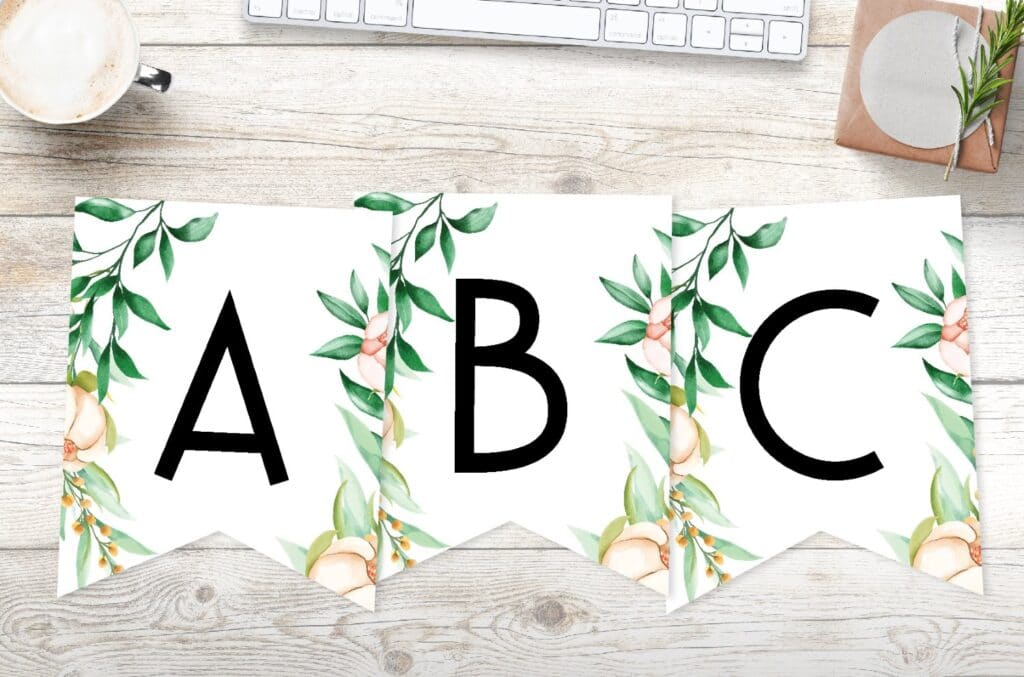 free printable floral botanical banner