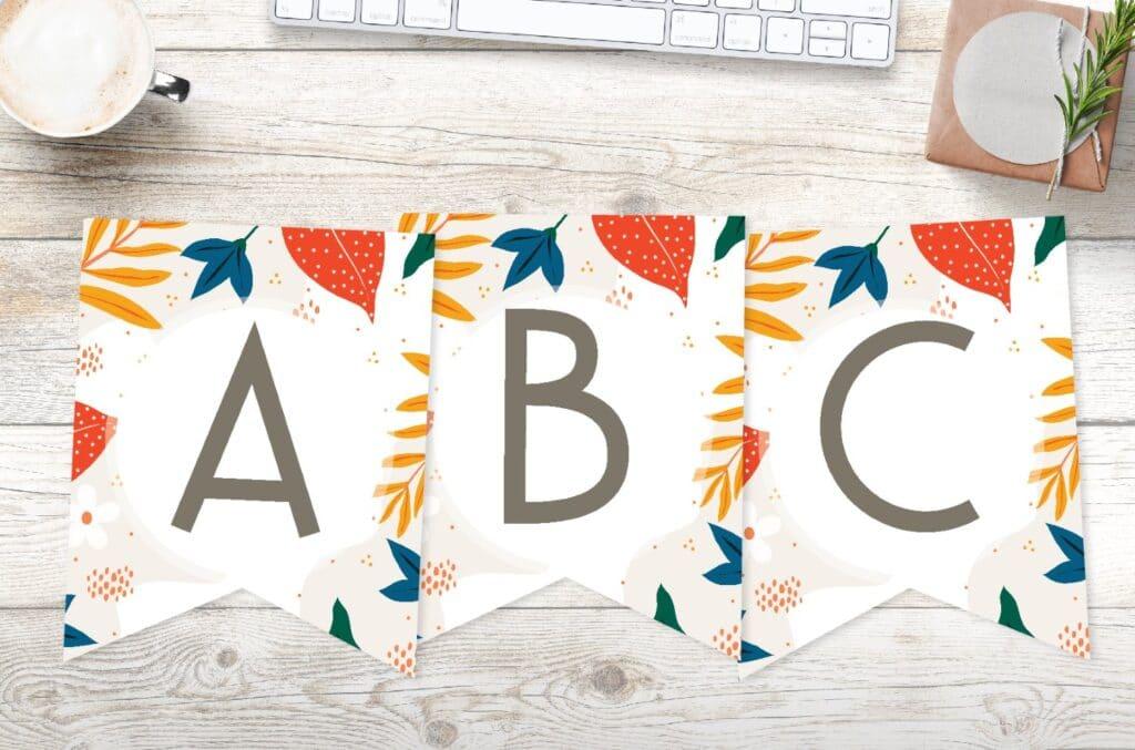 Free printable bold botanical floral banner