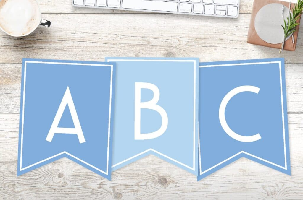 Free printable boys blue banner letters