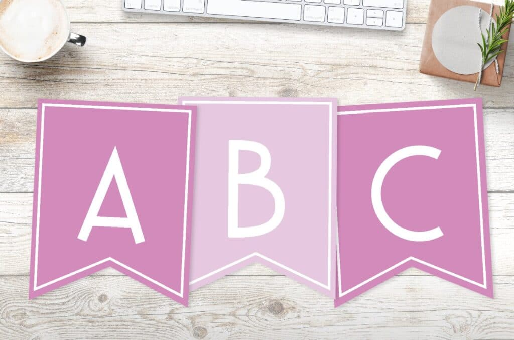 Free printable girls pink banner letters
