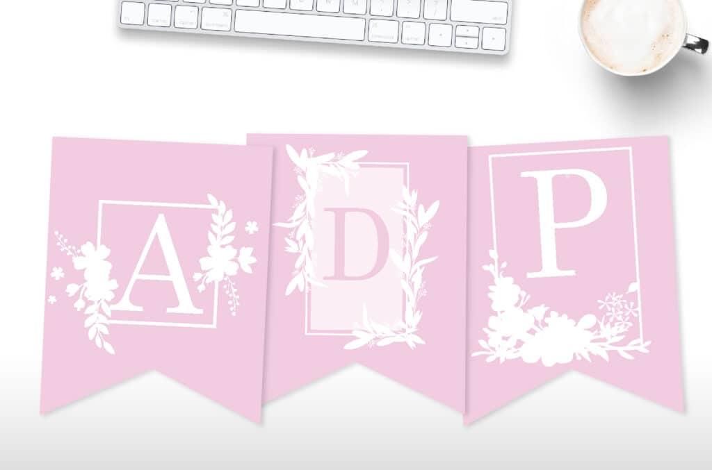 free printable floral framed banner letters