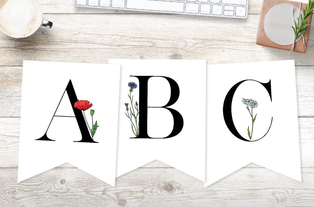 free printable banner letters with flowers
