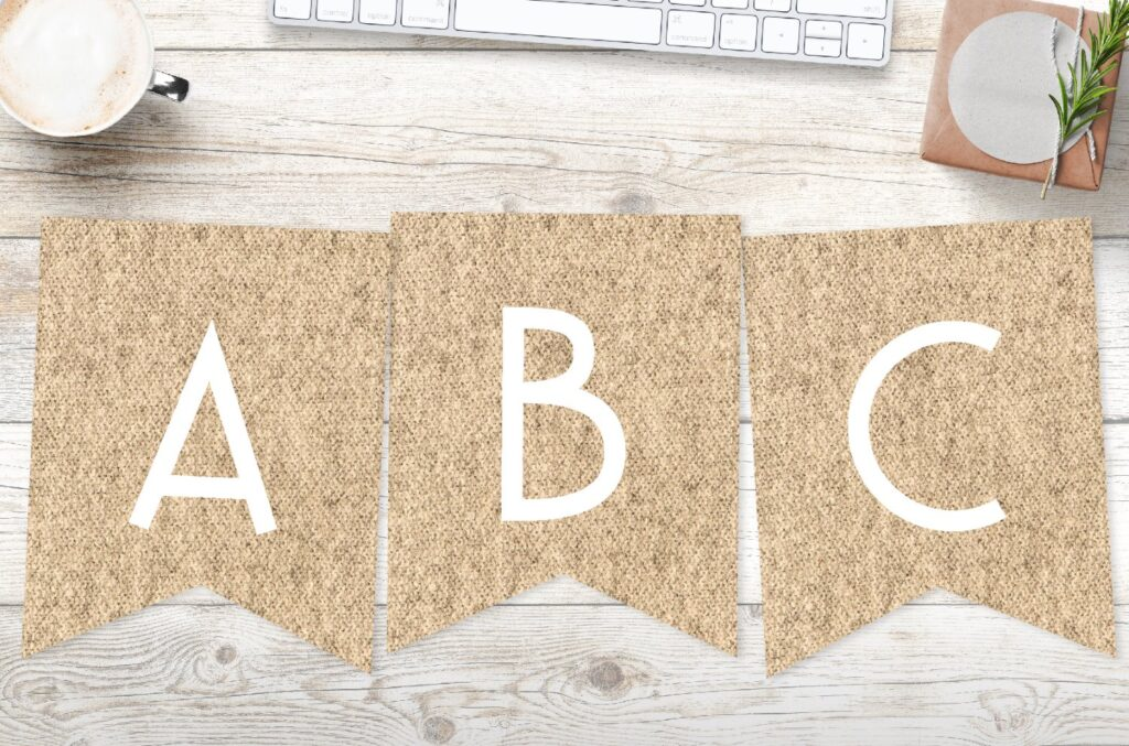 Free printable burlap banner letters