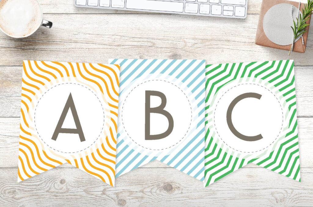 Free printable colorful striped pattern banner letters