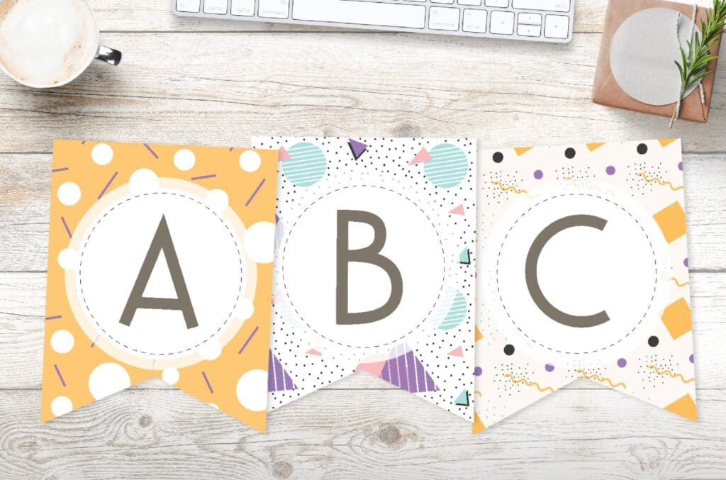 Free printable fun abstract banner letters