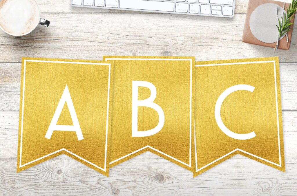 Free printable gold banner letters