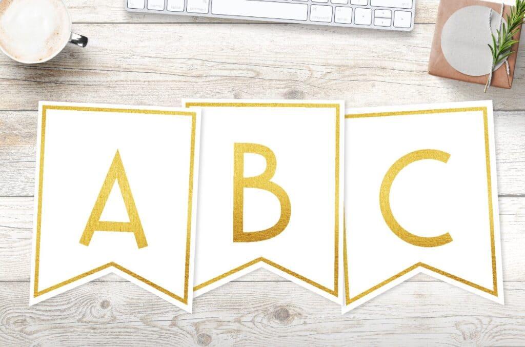 Free printable gold framed banner letters