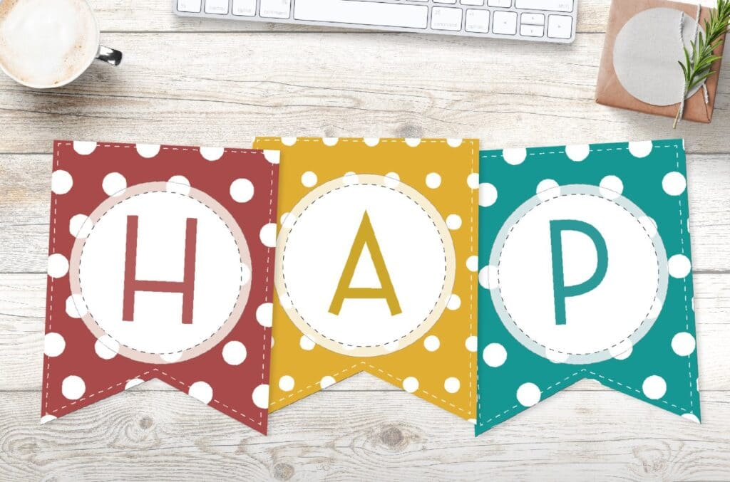 Free printable colorful polka dot happy birthday banner letters