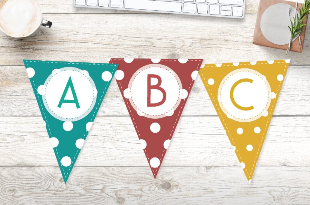 Free printable colorful polka dots banner letters