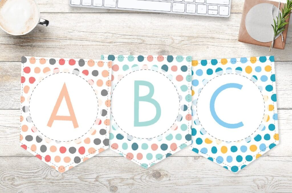 Free printable colorful brushed polka dots banner letters