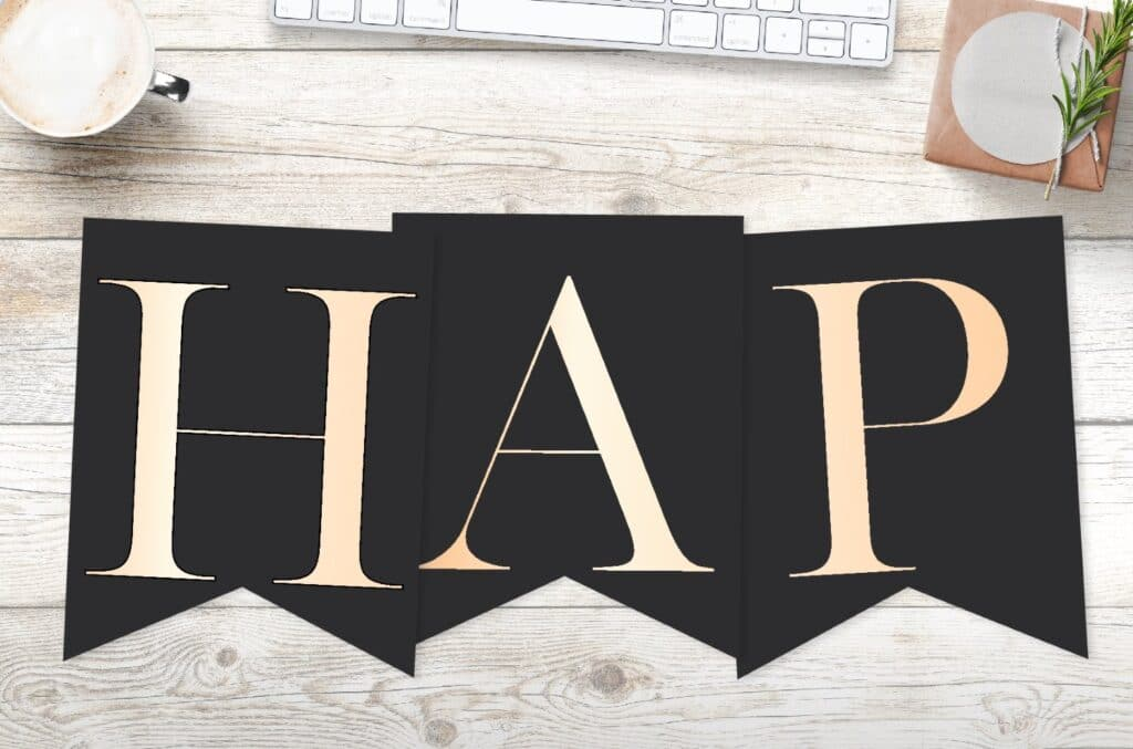 Gold happy birthday banner printable