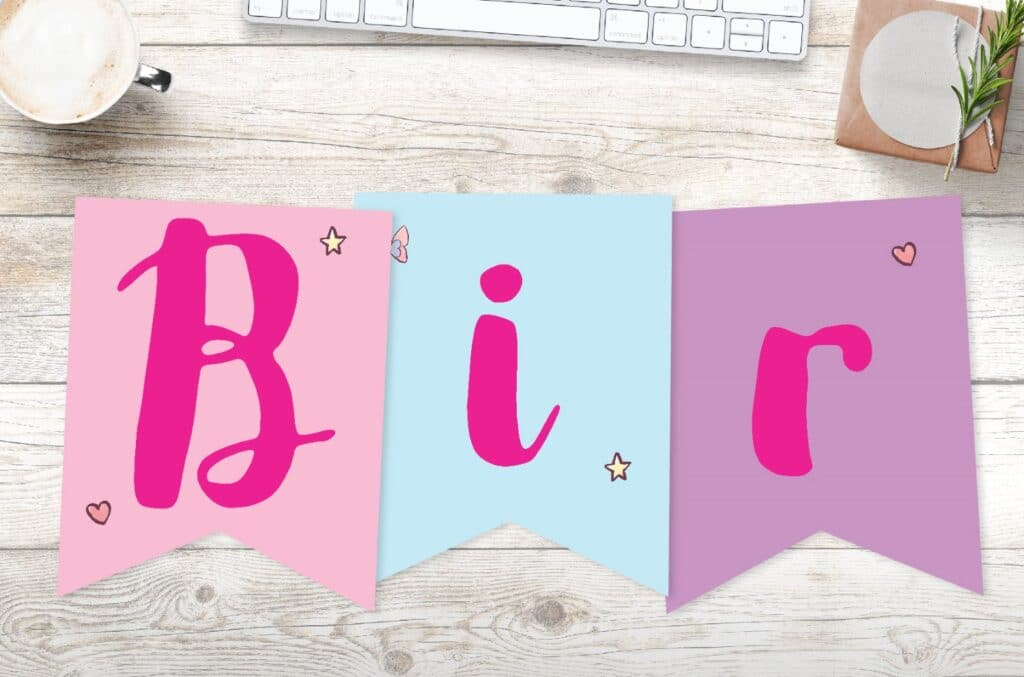 Free printable birthday girl banner