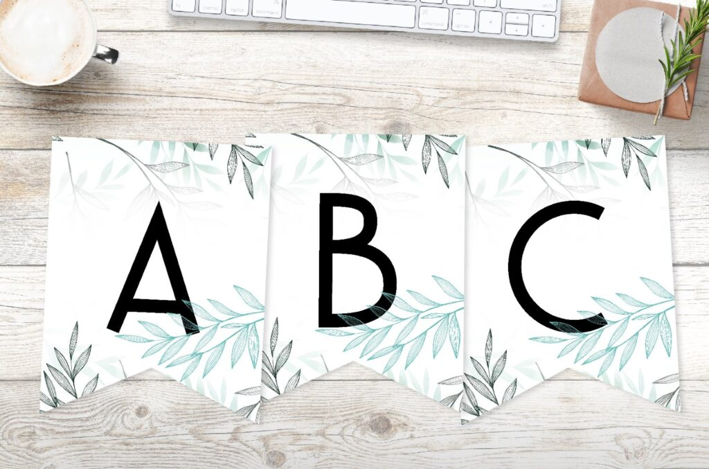 free printable delicate leaves banner