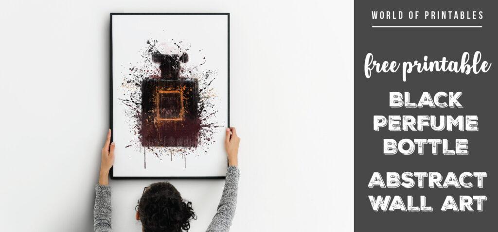 free printable black perfume bottle abstract splatter wall art
