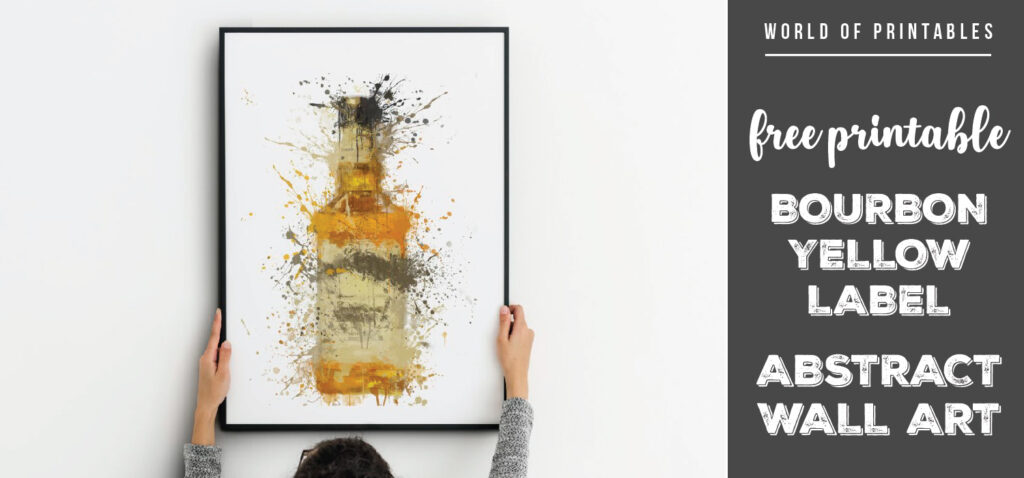 free printable bourbon yellow label abstract splatter wall art