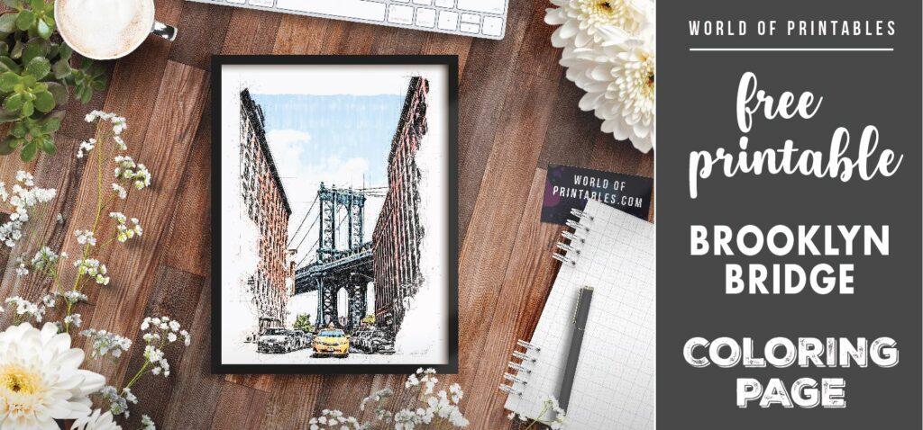free printable brookyln bridge coloring page - world of printables