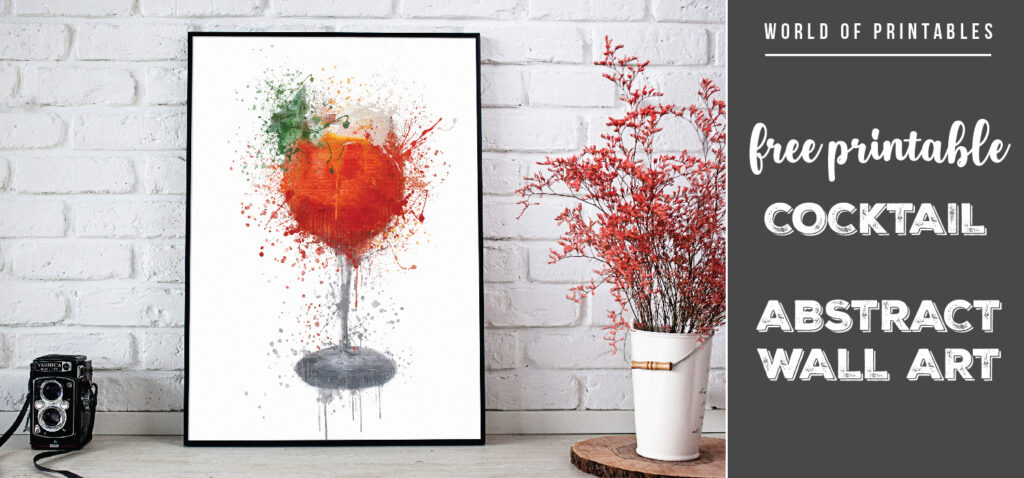 free printable cocktail abstract splatter wall art