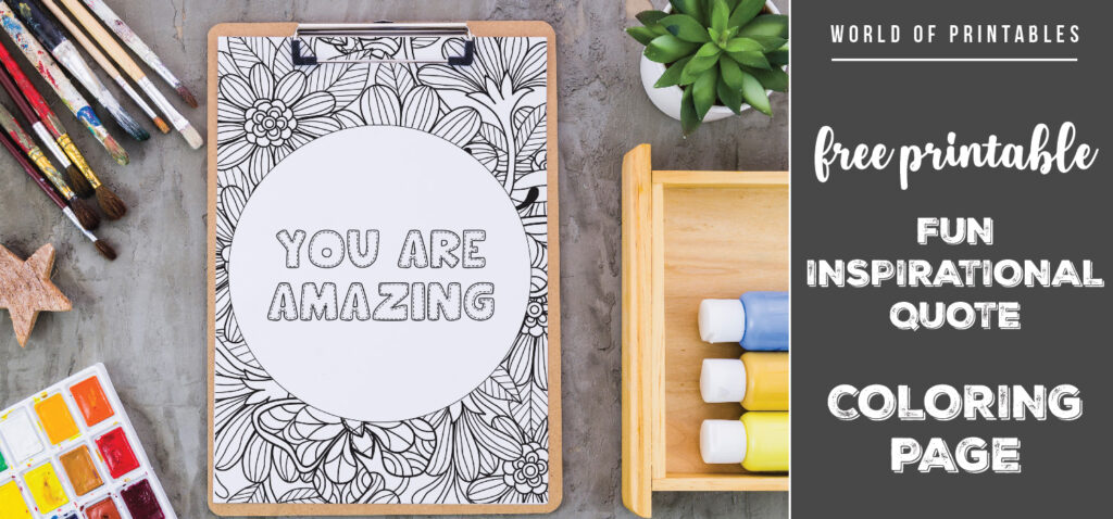 free printable fun inspirational quote coloring page