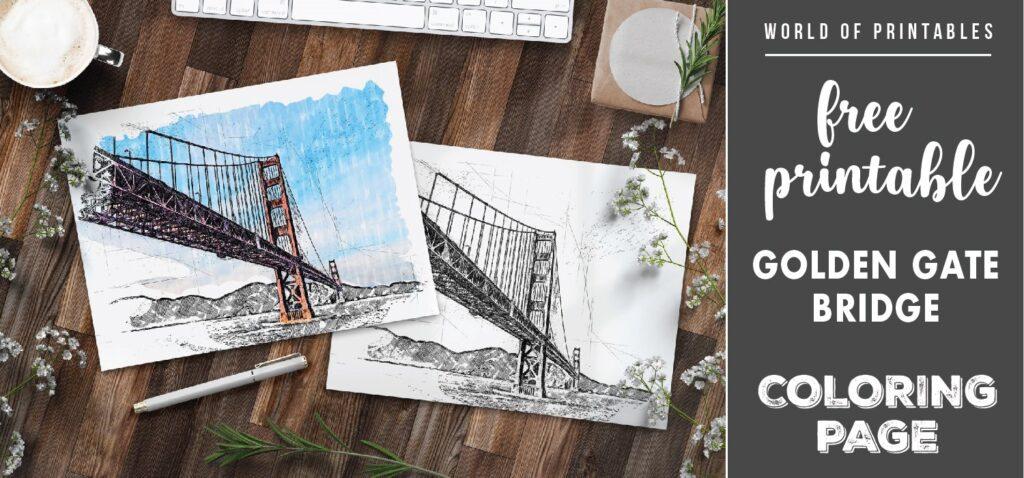 free printable golden gate bridge coloring page - world of printables