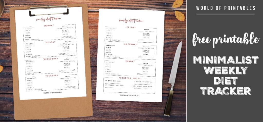 free printable minimalist weekly diet tracker