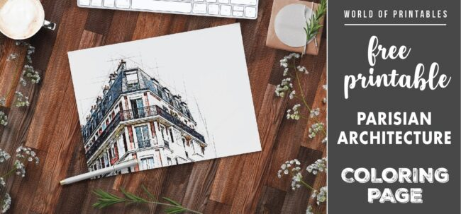 free printable parisian architecture coloring page - world of printables