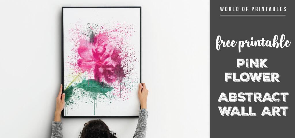 free printable pink flower abstract splatter wall art