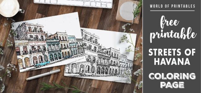 free printable streets of havana coloring page - world of printables
