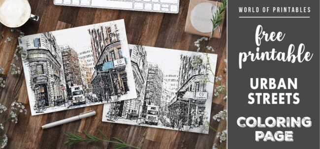free printable urban streets coloring page - world of printables