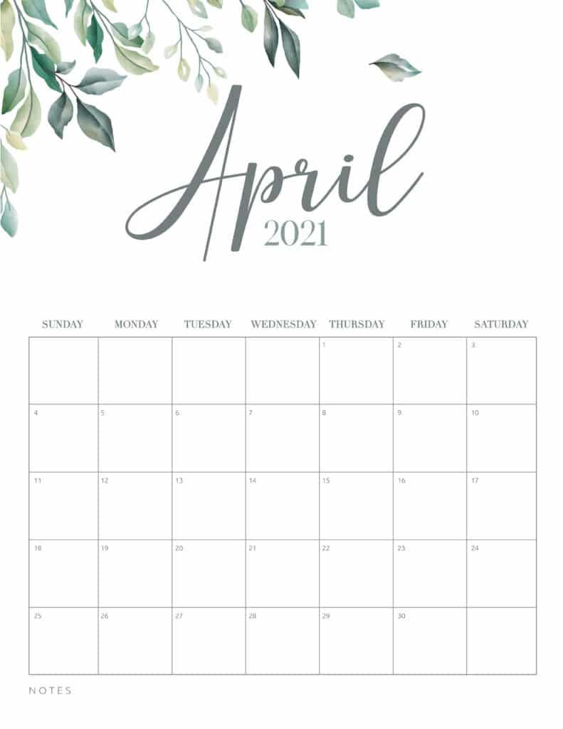inimal Botanical April 2021 Free Printable Calendar