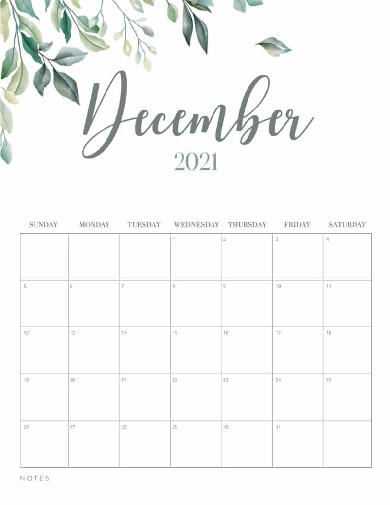 Minimal Botanical December 2021 Free Printable Calendar
