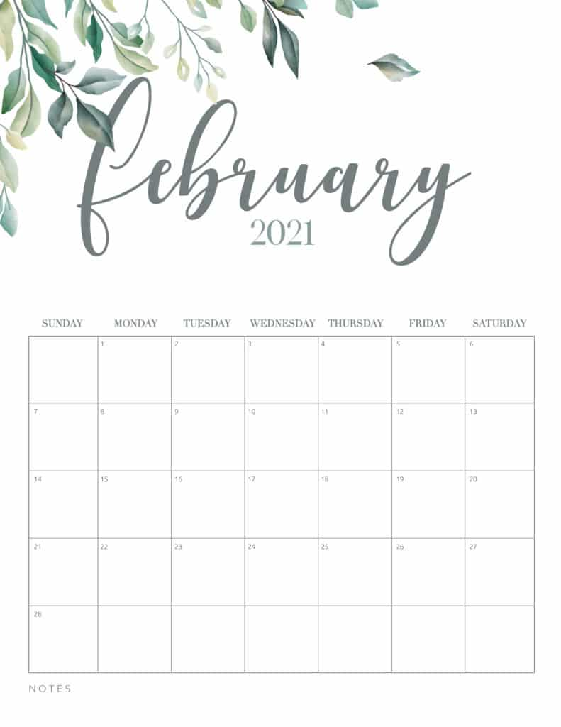 Minimal Botanical February 2021 Free Printable Calendar