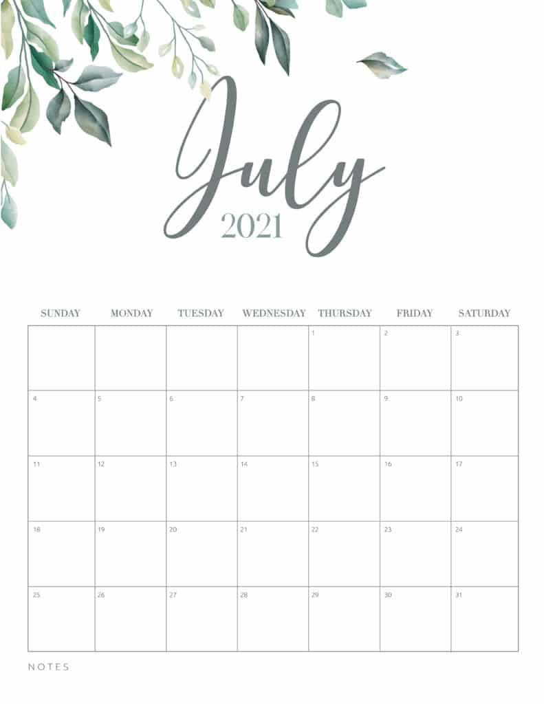 Minimal Botanical July 2021 Free Printable Calendar