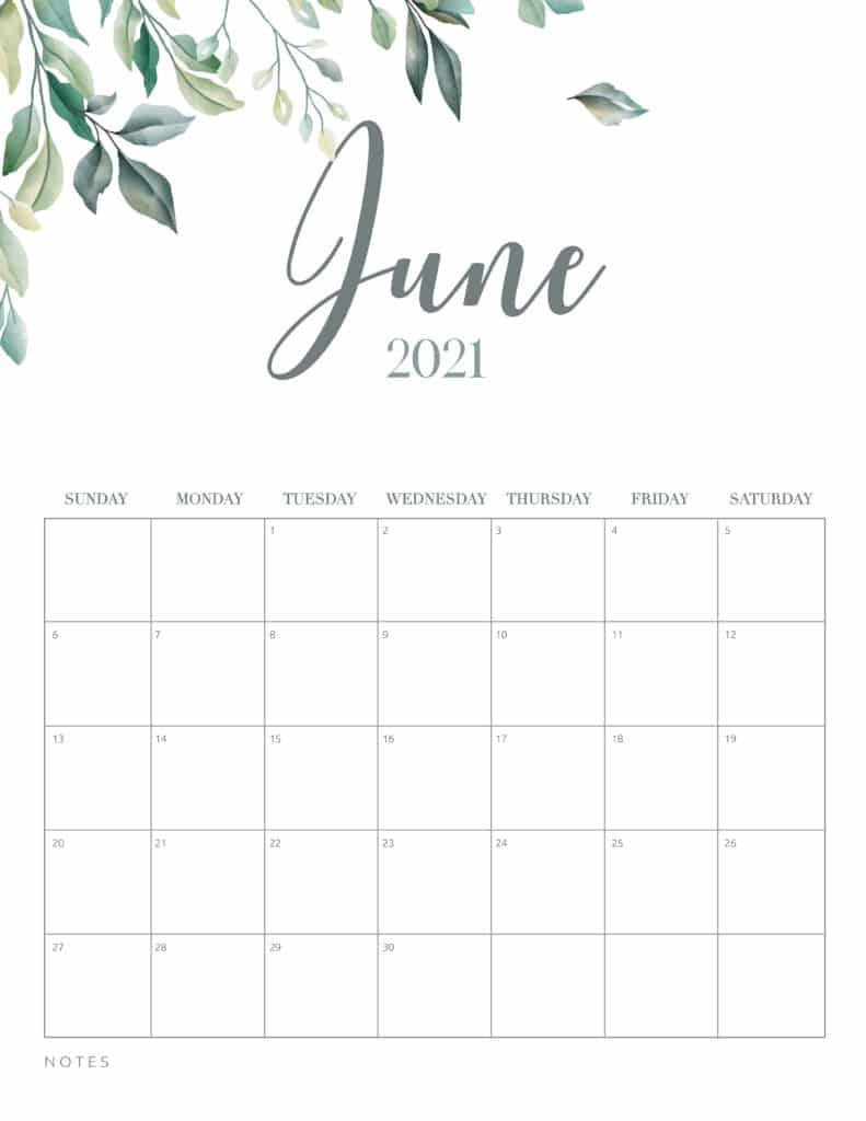 Minimal Botanical June 2021 Free Printable Calendar