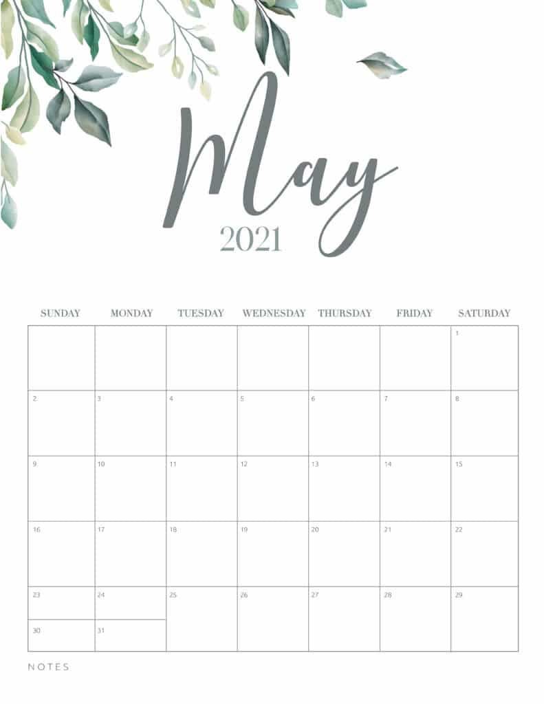 Minimal Botanical May 2021 Free Printable Calendar