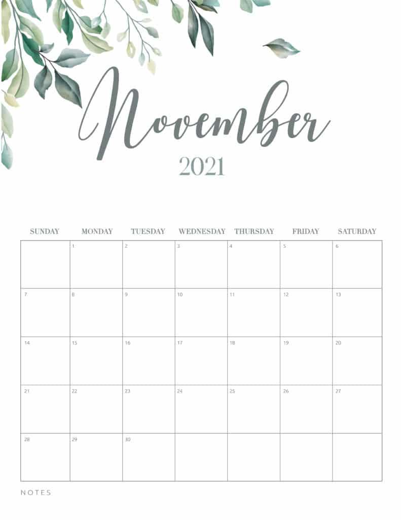 Minimal Botanical November 2021 Free Printable Calendar