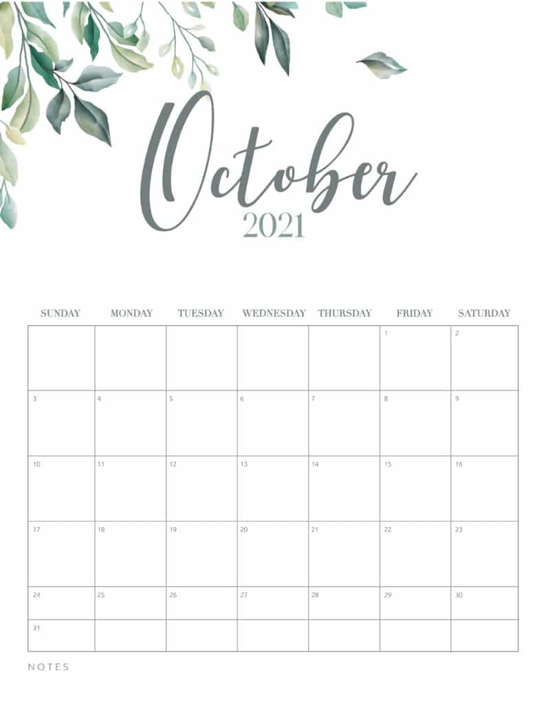 inimal Botanical October 2021 Free Printable Calendar