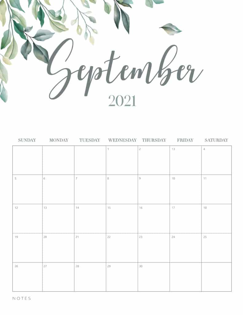 Minimal Botanical September 2021 Free Printable Calendar