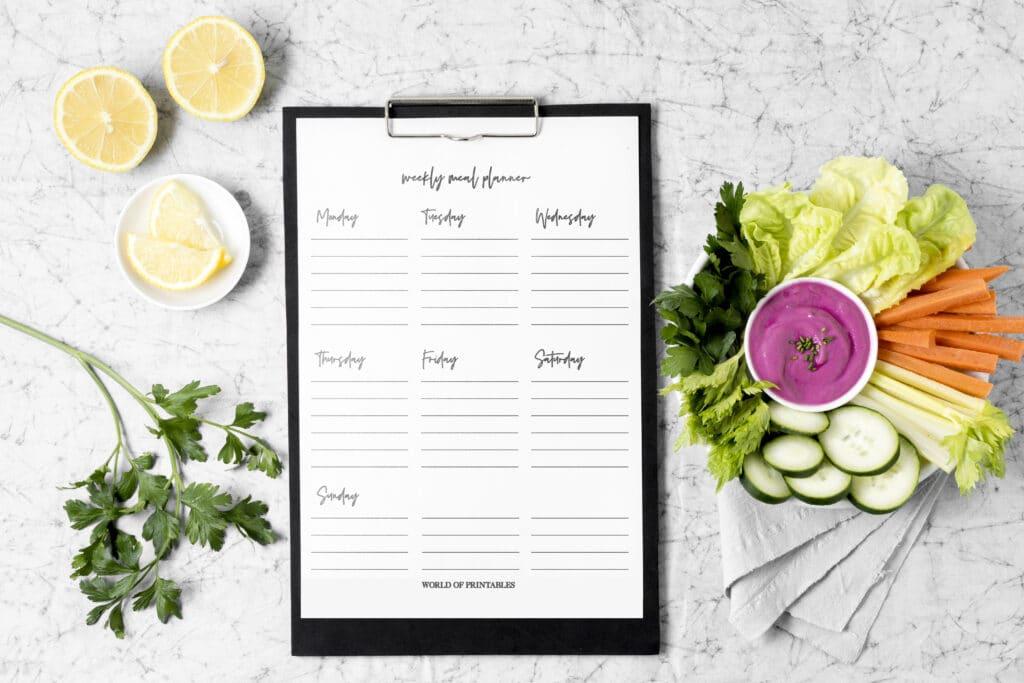 Minimalist Meal Planner Mockup