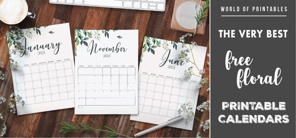 the very best free floral calendars printable 2021-01 - WOP