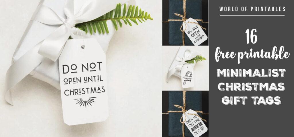 16 Free Printable Minimalist Christmas Gift Tags