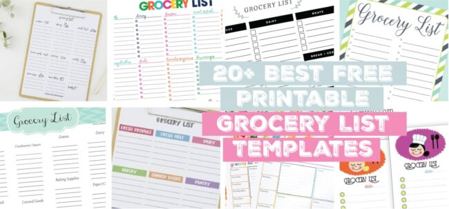 20+ Best Free Printable Grocery List Templates