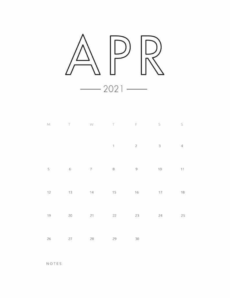 2021 April Free Monthly Calendar Template
