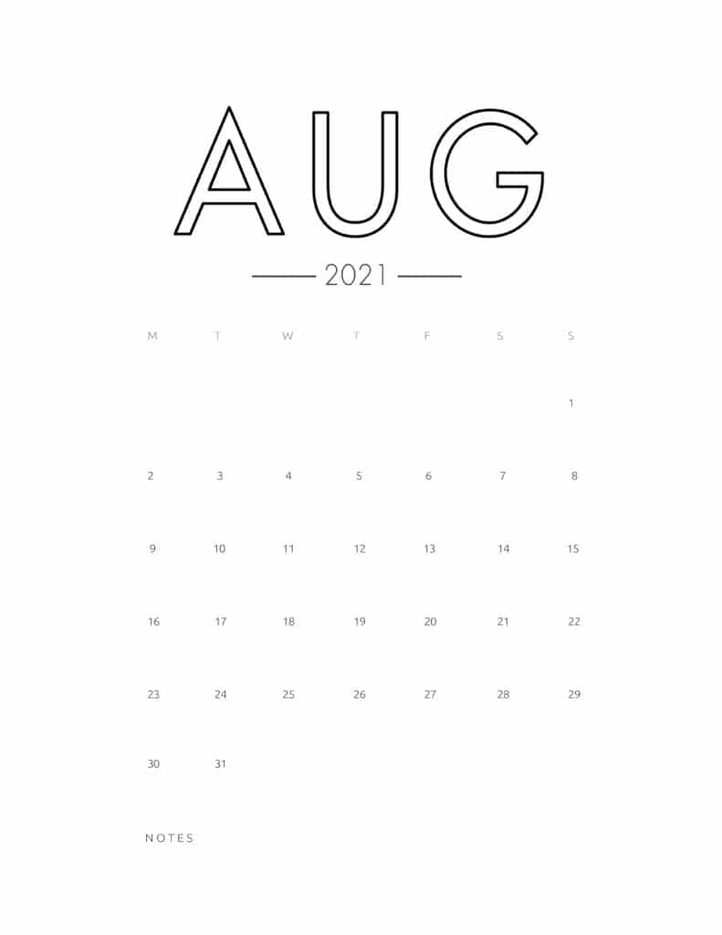 2021 August Free Monthly Calendar Template