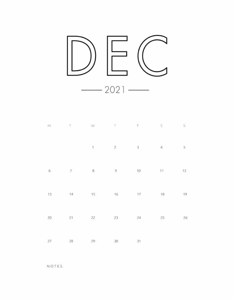 2021 December Free Monthly Calendar Template