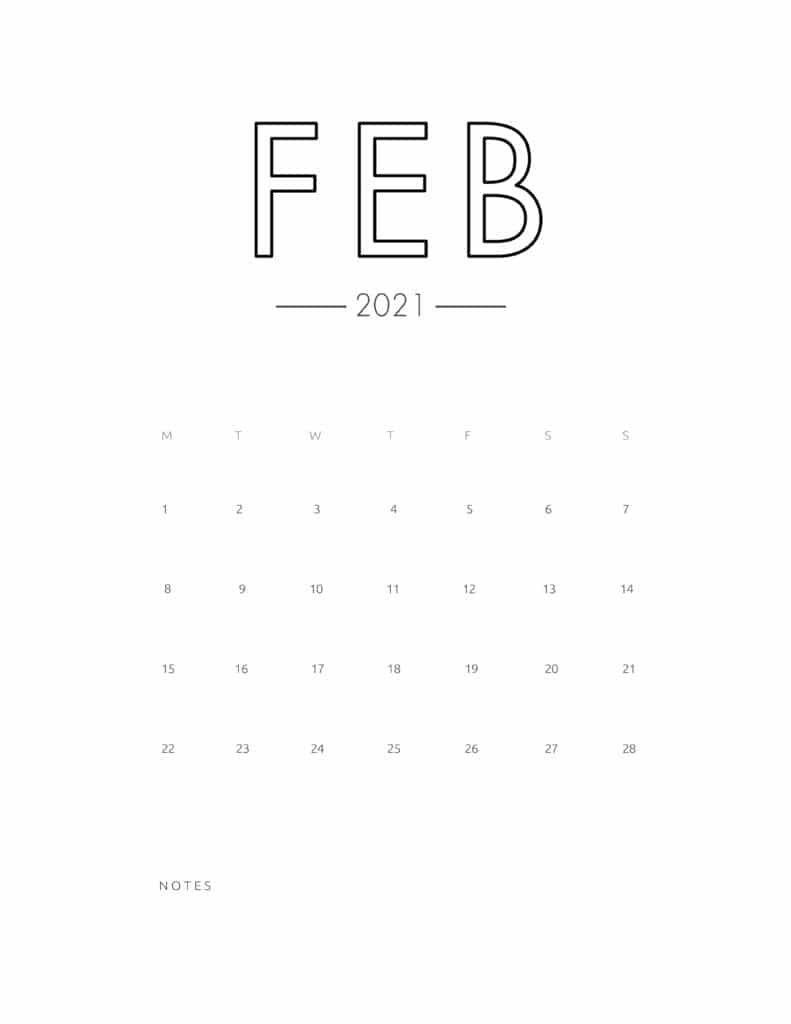 2021 February Free Monthly Calendar Template