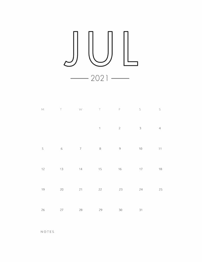 2021 July Free Monthly Calendar Template